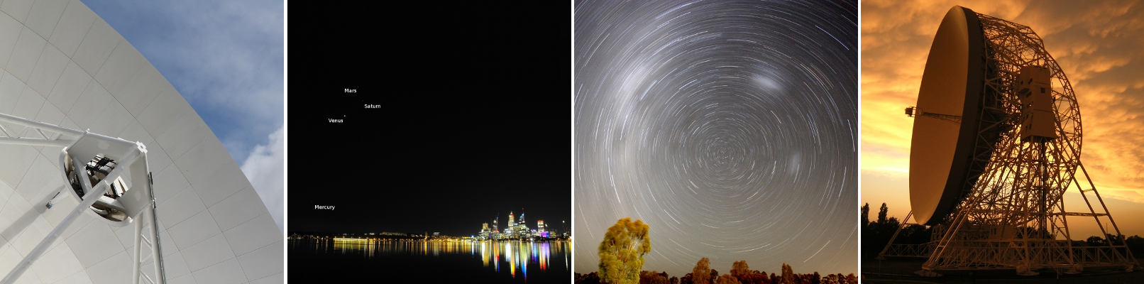 New Norcia, planets over Perth, star trails at Parkes, the Lovell telescope