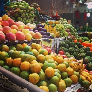 The vast choice of fruit and vegetables available at Panjim market
